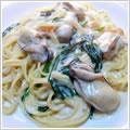 <むきみ牡蠣のレシピ>牡蠣とほうれん草のクリームパスタ